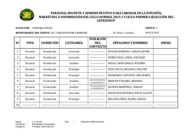 PERSONAL DOCENTE Y ADMINISTRATIVO PARA LABORAR EN LA DIFUSIÓN,  MARKETING E INFORMACIÓN DEL CICLO NORMAL 2015-I Y CICLO PR...