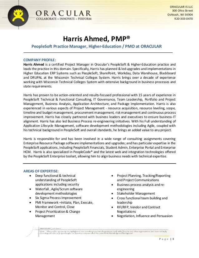 Harris Ahmed - Senior Project Manager - PeopleSoft