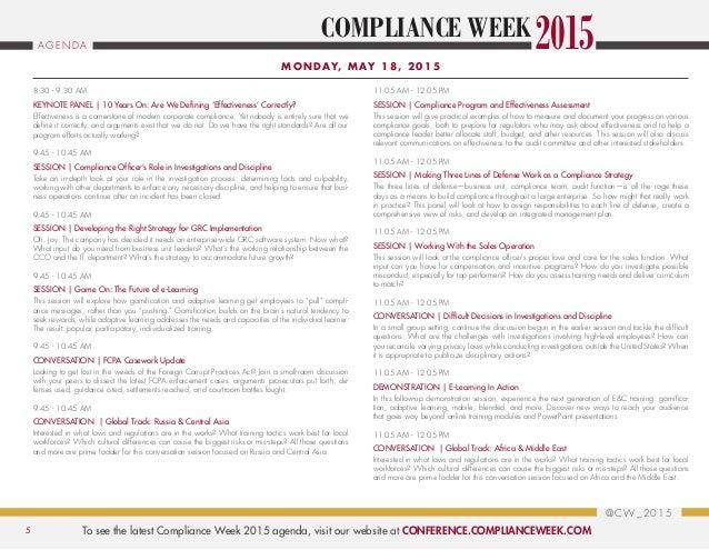 Complianceweek2015 agenda brochure - Moneygram compliance officer ...