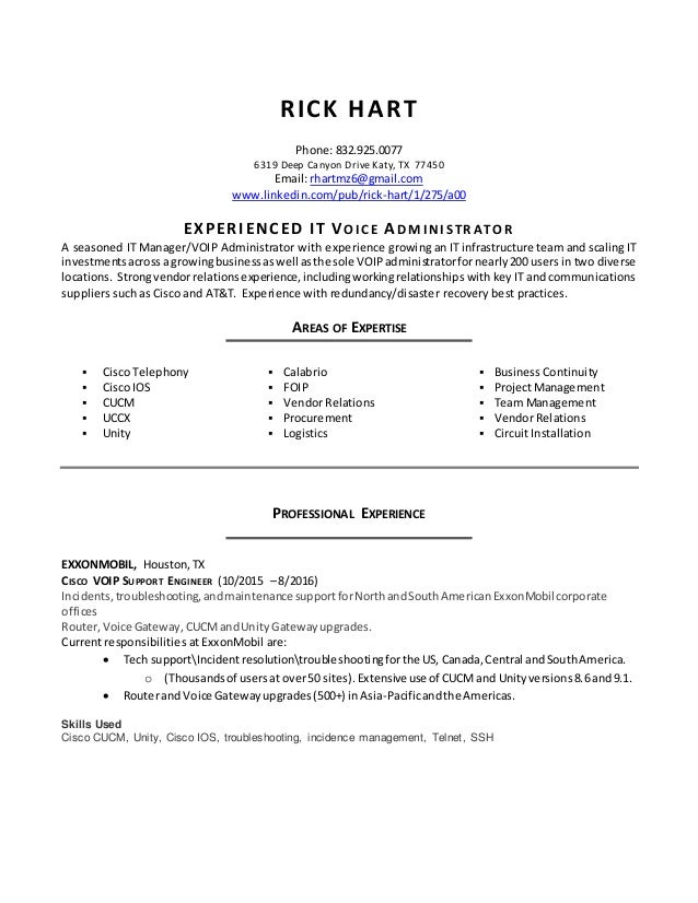 rh resume cisco voip with skills