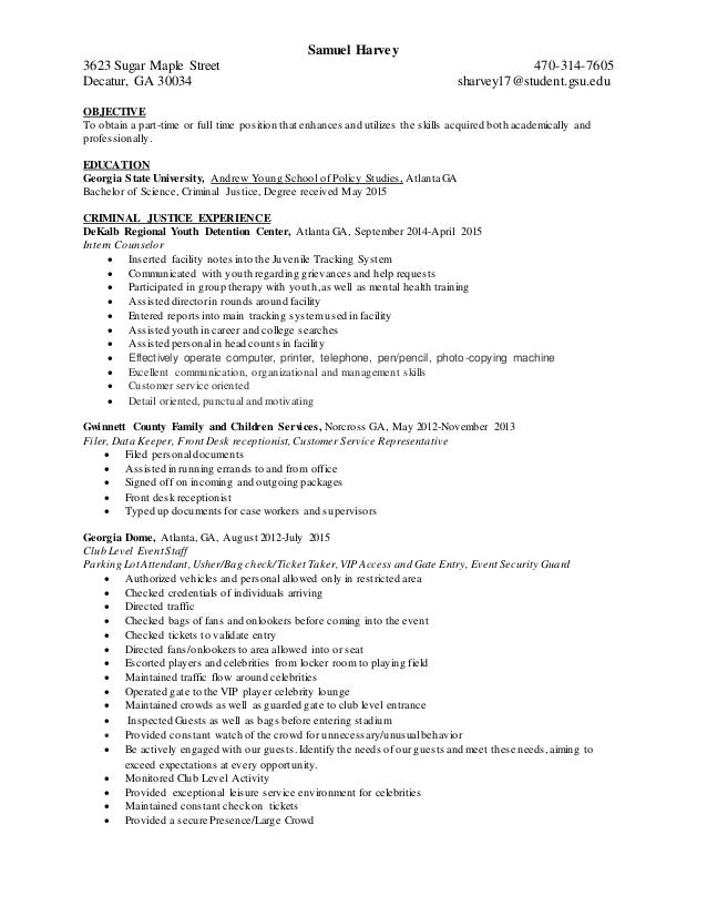harvey s criminal justice resume