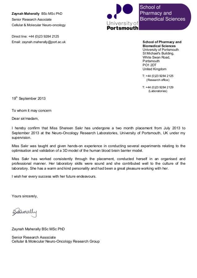 recommendation letter for shereen sakr
