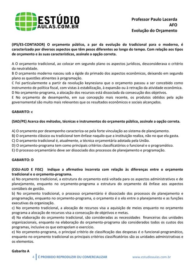 Professor Paulo Lacerda  AFO  Evolução do Orçamento  4 É PROIBIDO REPRODUZIR OU COMERCIALIZAR www.estudioaulas.com.br  (IP...