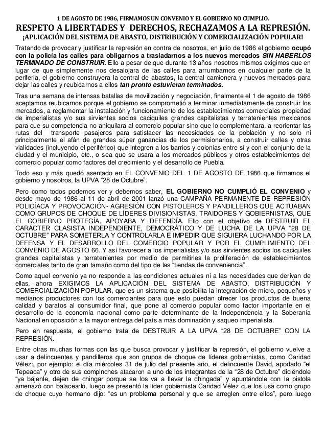 1 DE AGOSTO DE 1986, FIRMAMOS UN CONVENIO Y EL GOBIERNO NO CUMPLIO. RESPETO A LIBERTADES Y DERECHOS, RECHAZAMOS A LA REPRE...