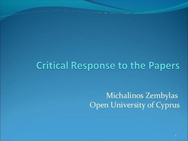 Michalinos Zembylas Open University of Cyprus 1