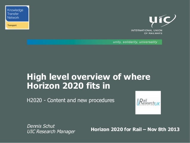 High level overview of where Horizon 2020 fits in H2020 - Content and new procedures  Dennis Schut UIC Research Manager  H...