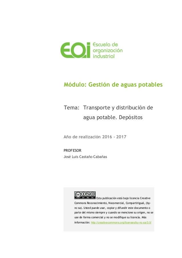 Módulo: Gestión de aguas potables Tema: Transporte y distribución de agua potable. Depósitos Año de realización 2016 - 201...
