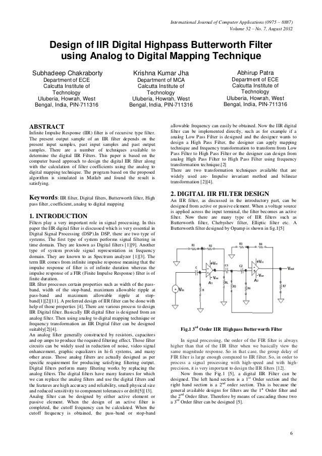 Design of iir digital highpass butterworth filter using