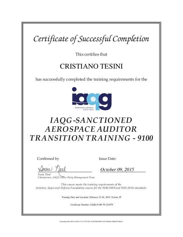 IAQG AATT 9100 Certificate