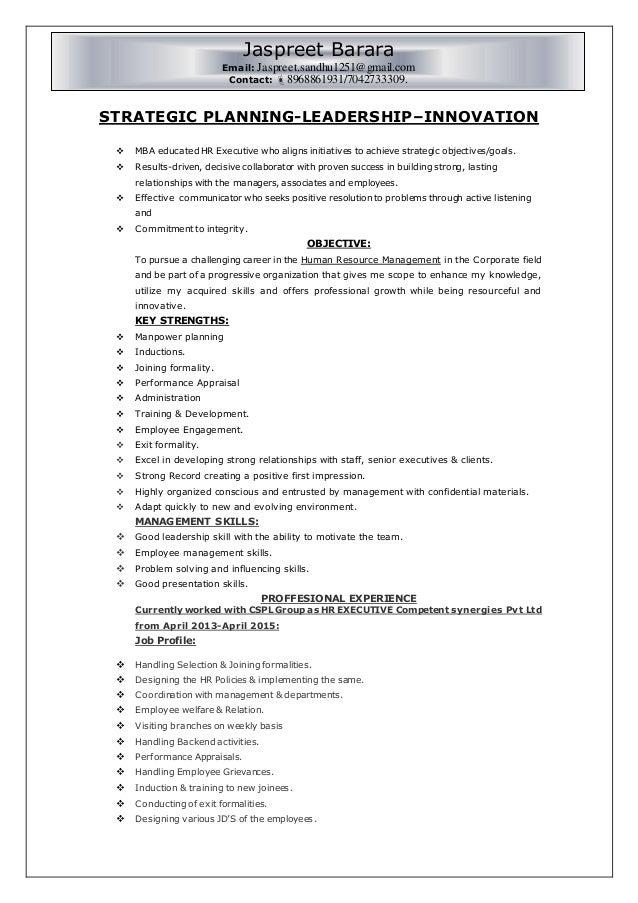 resume for hr generalist