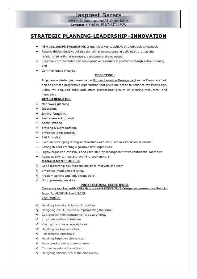 Resume For HR Generalist. STRATEGIC PLANNING LEADERSHIPu2013INNOVATION  MBA  Educated HR Executive Who Aligns Initiatives To Achieve ...