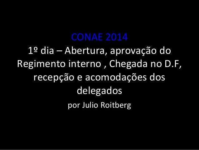CONAE 2014  1º dia – Abertura, aprovação do  Regimento interno , Chegada no D.F,  recepção e acomodações dos  delegados  p...