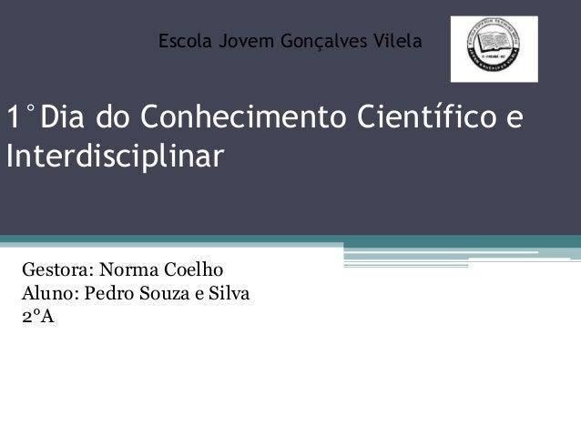 1°Dia do Conhecimento Científico e Interdisciplinar Escola Jovem Gonçalves Vilela Gestora: Norma Coelho Aluno: Pedro Souza...