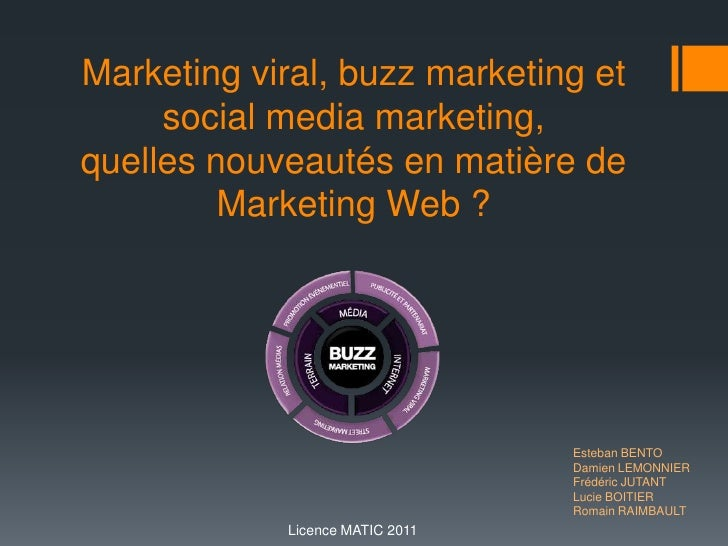 Marketing viral, buzz marketing et social media marketing,quelles nouveautés en matière de Marketing Web ? Esteban BENTO 	...