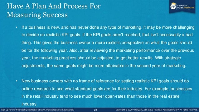 Have A Plan And Process For Measuring Success • If a business is new, and has never done any type of marketing, it may be ...