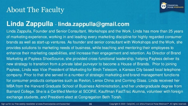 About The Faculty Linda Zappulla - linda.zappulla@gmail.com Linda Zappulla, Founder and Senior Consultant, Workshops and t...