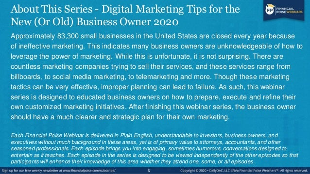 About This Series - Digital Marketing Tips for the New (Or Old) Business Owner 2020 Approximately 83,300 small businesses ...