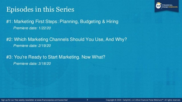 Episodes in this Series #1: Marketing First Steps: Planning, Budgeting & Hiring Premiere date: 1/22/20 #2: Which Marketing...
