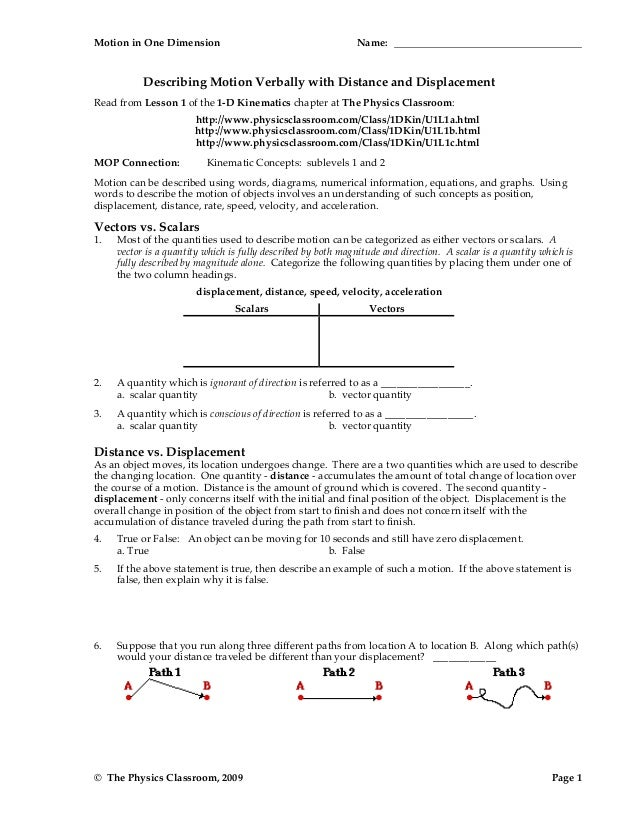 1d Motion Worksheet Packet