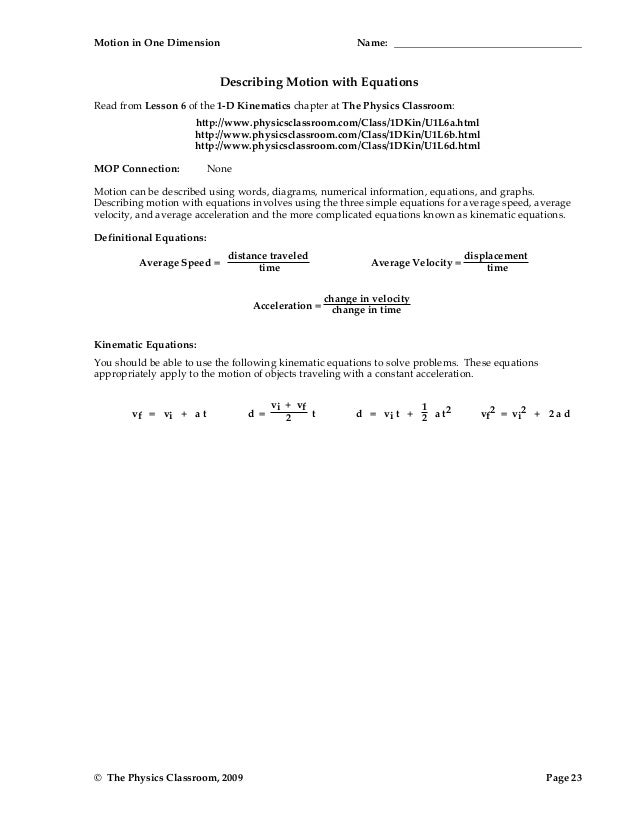 1d motion worksheetpacket – Kinematics Worksheet