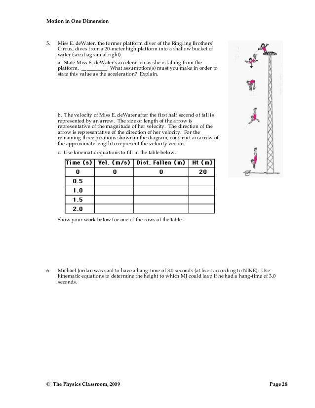 1d motion worksheet_packet