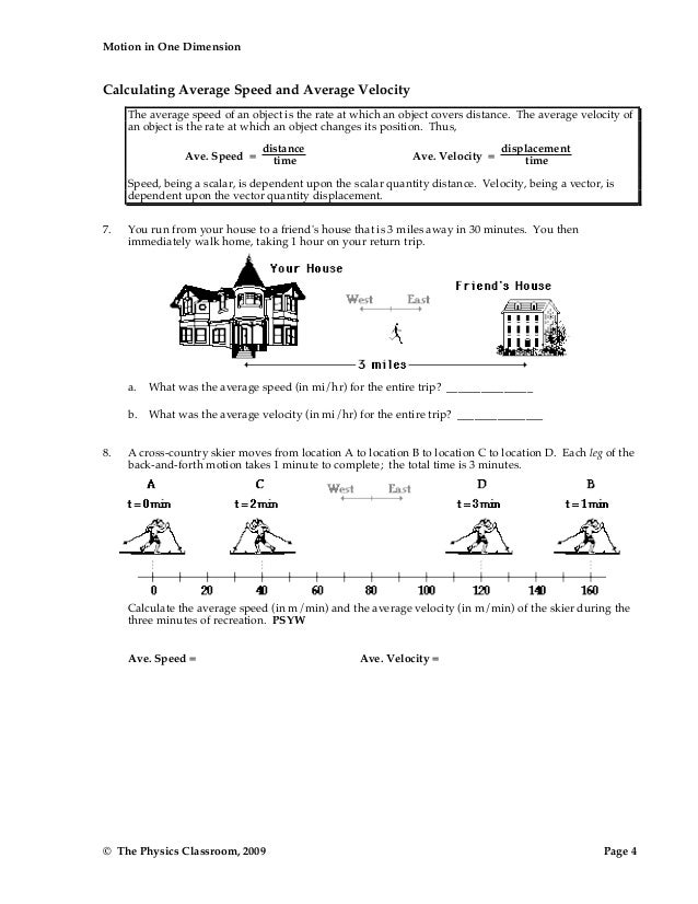 1d motion worksheetpacket – Speed and Velocity Worksheet