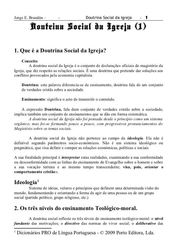 Jorge E. Brandán –         -               Doutrina Social da Igreja        -   1           Doutrina Social da Igreja (1)1...