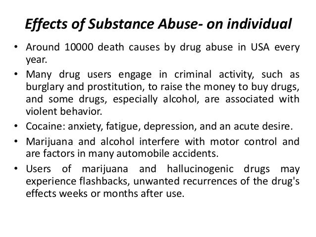 Cause and effect essay on substance abuse