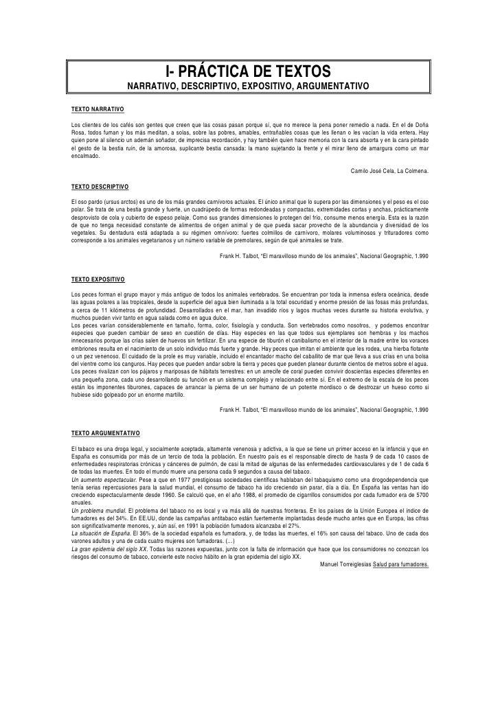 I- PRÁCTICA DE TEXTOS                       NARRATIVO, DESCRIPTIVO, EXPOSITIVO, ARGUMENTATIVOTEXTO NARRATIVOLos clientes d...