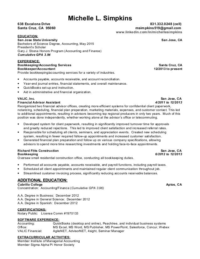 Accounting Resume 2015