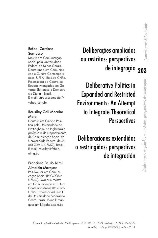 Comunicação & Sociedade, ISSN Impresso: 0101-2657 • ISSN Eletrônico: ISSN 2175-7755.  Ano 32, n. 55, p. 203-229, jan./jun....