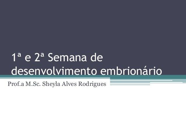 1ª e 2ª Semana de desenvolvimento embrionárioProf.a M.Sc. Sheyla Alves Rodrigues