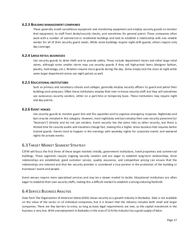 Security Guard Business Plan Sample