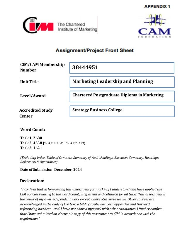 CIM/CAM Membership Number Unit Title Level/Award Accredited Study Center 38444951 Marketing Leadership and Planning Charte...