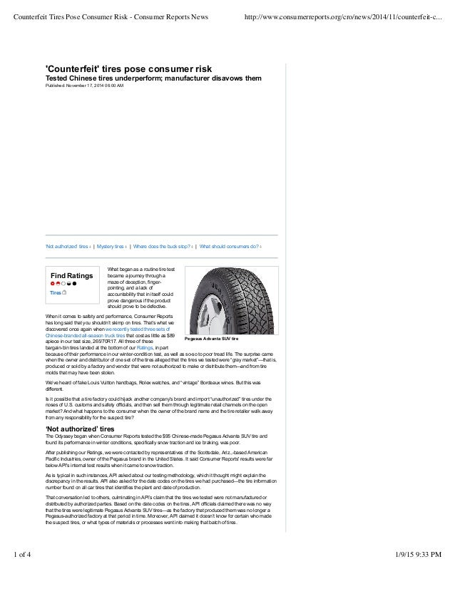 Counterfeit Tires Eevarts Consumer Reports News
