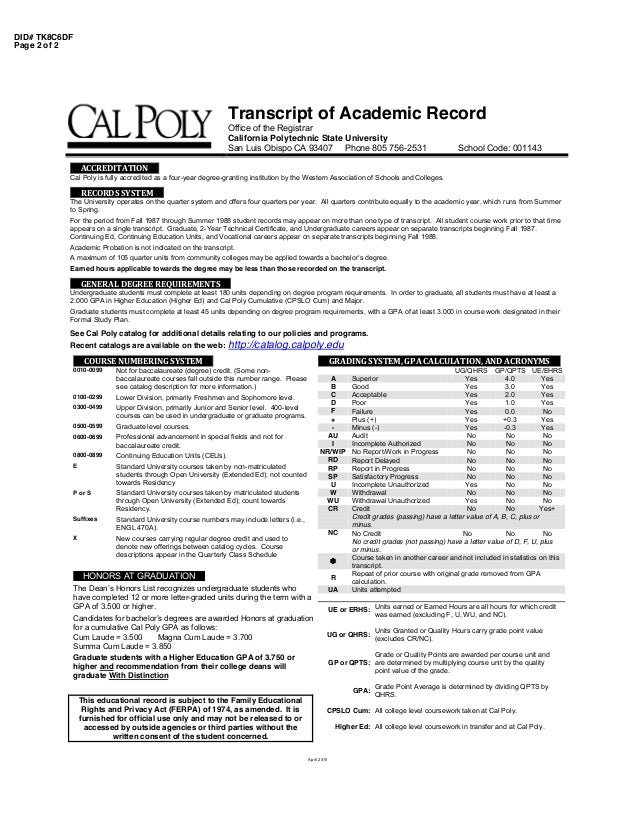 Cal poly transcript 2 ccuart Image collections