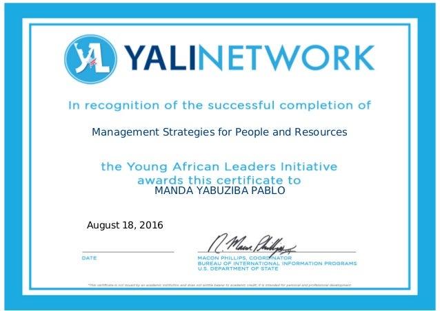 Management Strategies for People and Resources MANDA YABUZIBA PABLO August 18, 2016