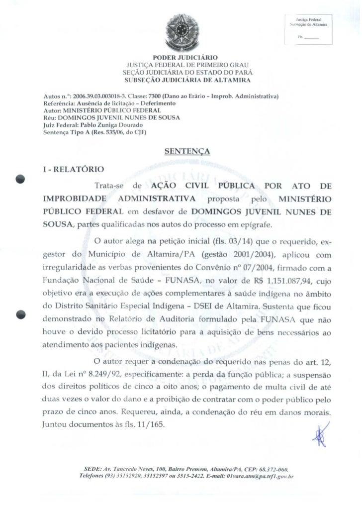 Sentença judicial  contra Domingos Juvenil por desvio de recursos na FUNASA