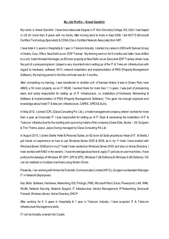 Beautiful Cover Letter   Job Profile. My Job Profile U2013 Vineet Gambhir My Name Is  Vineet Gambhir.