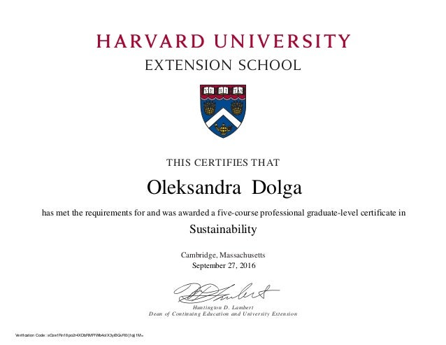 Harvard extension school Sustainability certificate
