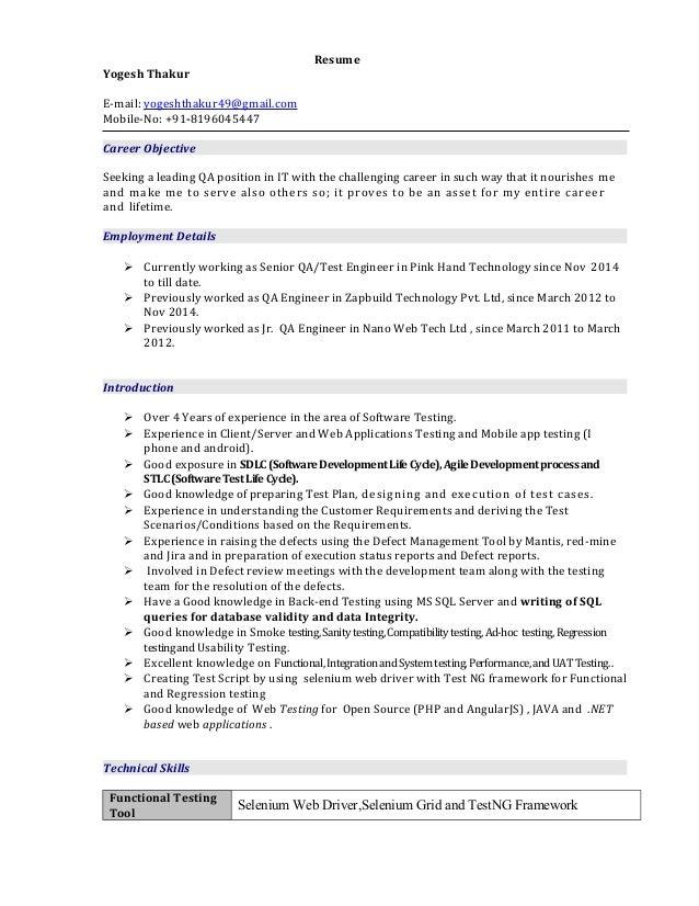 Mobile qa engineer resume
