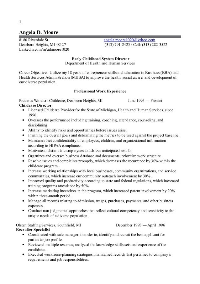 1 early childhood director resume 2014