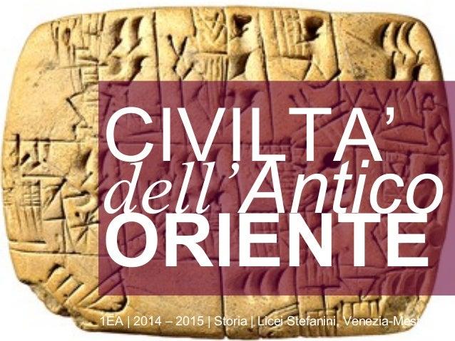 dell'Antico ORIENTE 1EA   2014 – 2015   Storia   Licei Stefanini, Venezia-Mestre CIVILTA'