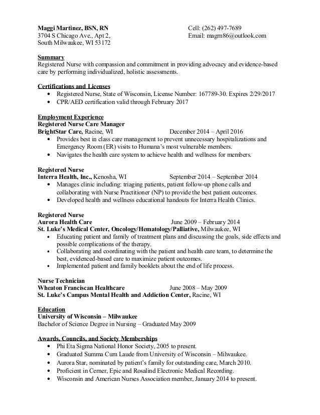 maggi martinez bsn rn cell 262 497 7689 3704 s - Resume For Nursing Technician