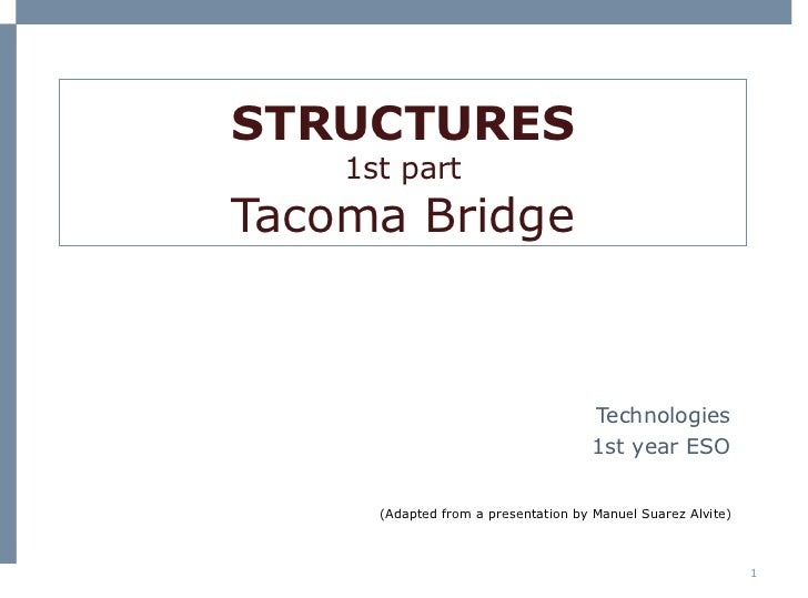 STRUCTURES 1st part Tacoma Bridge Technologies 1st  year  ESO (Adapted from a presentation by Manuel Suarez Alvite)