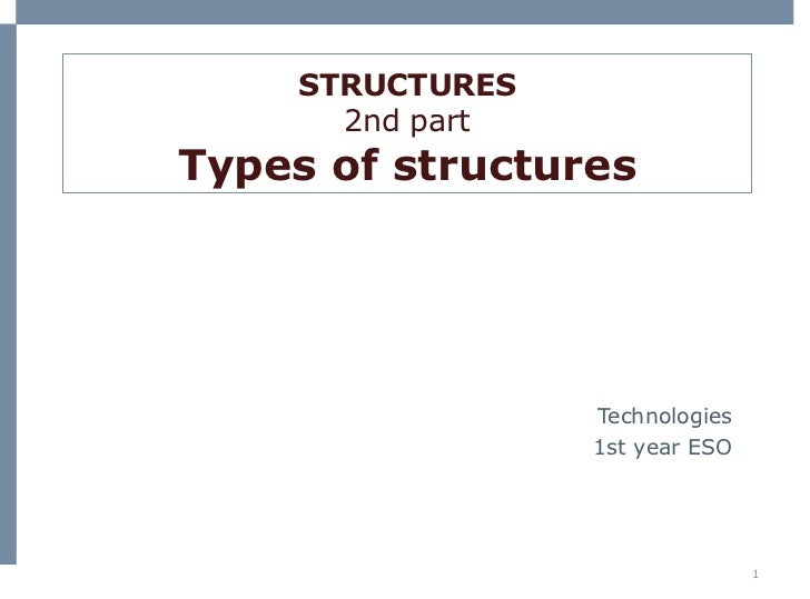 STRUCTURES 2nd part Types of structures Technologies 1st  year  ESO