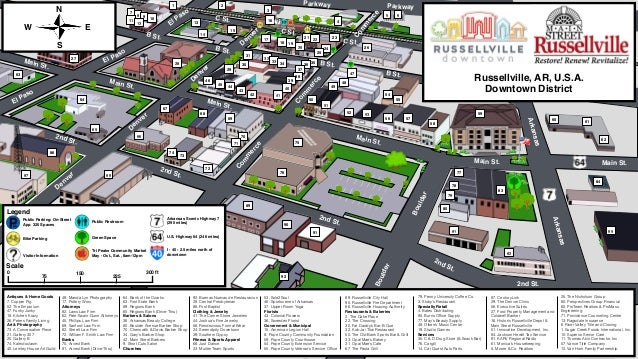 Russellville Arkansas Map.Downtown Map Pdf 1