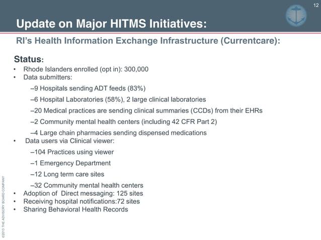 ©2013THEADVISORYBOARDCOMPANY 12 RI's Health Information Exchange Infrastructure (Currentcare): Update on Major HITMS ...