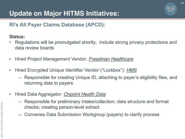 ©2013THEADVISORYBOARDCOMPANY 15 RI's All Payer Claims Database (APCD):  Update on Major HITMS Initiatives: Status: •...