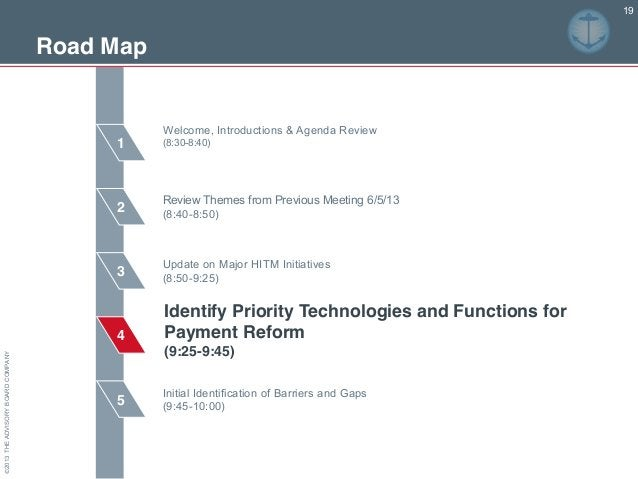 ©2013THEADVISORYBOARDCOMPANY Road Map 2 3 4 5 1 19 Review Themes from Previous Meeting 6/5/13 (8:40-8:50) Update on Major ...